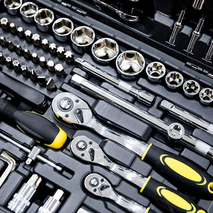Close up photo of an engineers toolkit